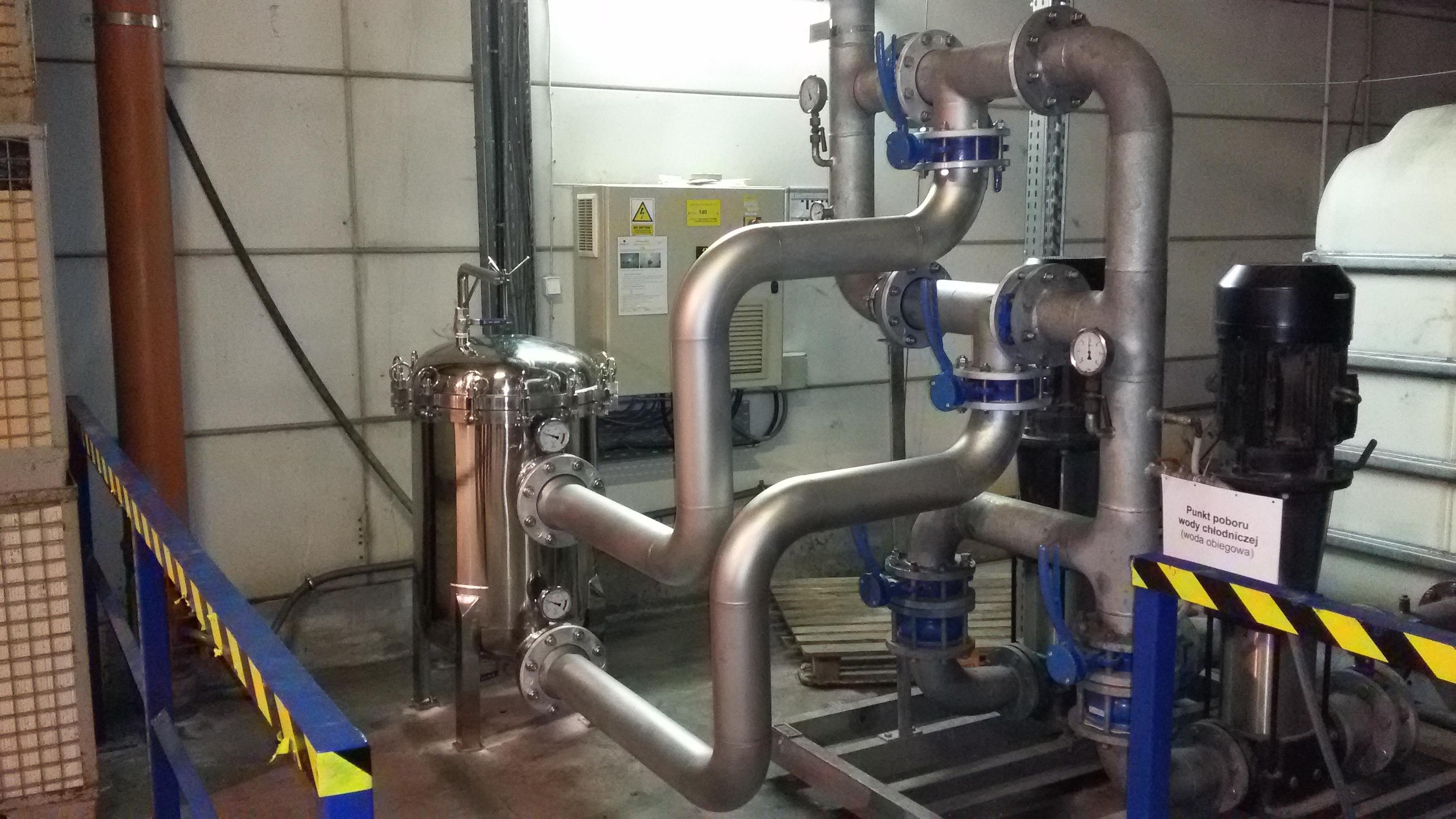 system oczyszczania wody technologicznej, chłodniczej